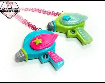 Pew! Pew! Pew! Necklace, Pop kei, Decora, Neon Alien Ray Gun, Space Punk, Uchuu Kei