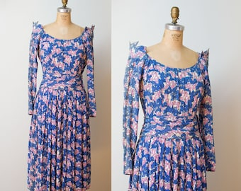 1940s Ceil Chapman Dress / 40s Novelty Print Rayon Dress