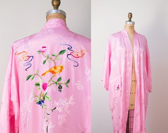 1970s Pink Embroidered Robe / Golden Bee Chinese Embroidered Robe