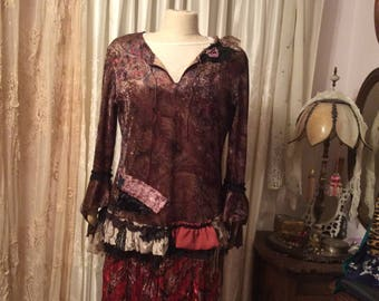 Bohemian Hippie Top, upcycled womens altered clothes, brown paisley velvet top, earth tones tattered gypsy clothes, bell sleeves, LARGE