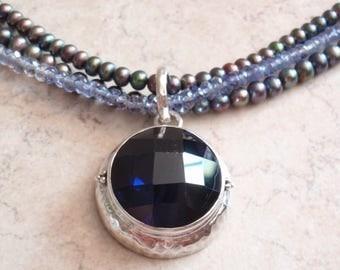 Sapphire Pearl Necklace Lori Bonn Layered Sterling Silver Vintage 051316RV