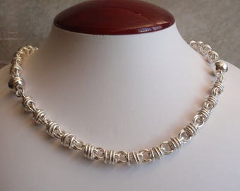Sterling Sectional Necklace Bracelets Convertible Milor Italy Chain Maille Look Vintage 062714HE