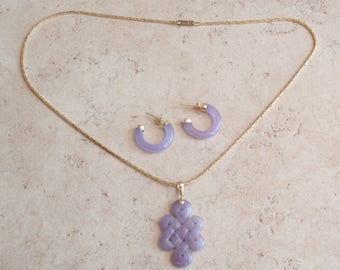Purple Jade Necklace Hoop Earring Set 14K Gold Vintage 122116BT