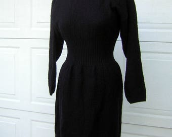Black Sweater Dress Curvy Vintage 70s 80s Ribbed & Pebble Knit Small to Extra Small
