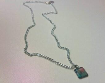 Multicolor Natural Stone Pendant Silver Chain Necklace
