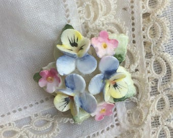 Lovely Vintage 1950s Bone China Summer Flower Bouquet Brooch