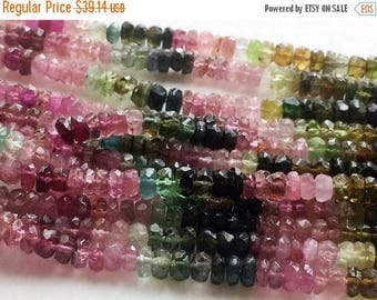 ON SALE 55% Multi Tourmaline Faceted Rondelle Beads, Multi Tourmaline Necklace, 4-4.5mm Beads, 7 Inch Strand - RAM13