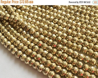 ON SALE 55% Pyrite, Gold Pyrite Beads, Golden Pyrite Faceted Rondelle Beads, Gold Pyrite Necklace, 7mm To 8mm, 8 Inch Strand