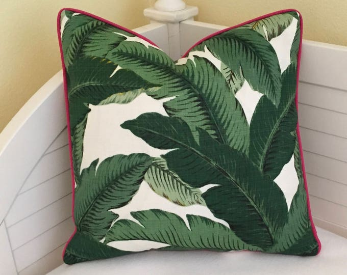 Tommy Bahama Swaying Palms in Aloe  (on Both Sides)  Indoor Outdoor Pillow Cover with Hot Pink Piping - Square, Euro and Lumbar Sizes