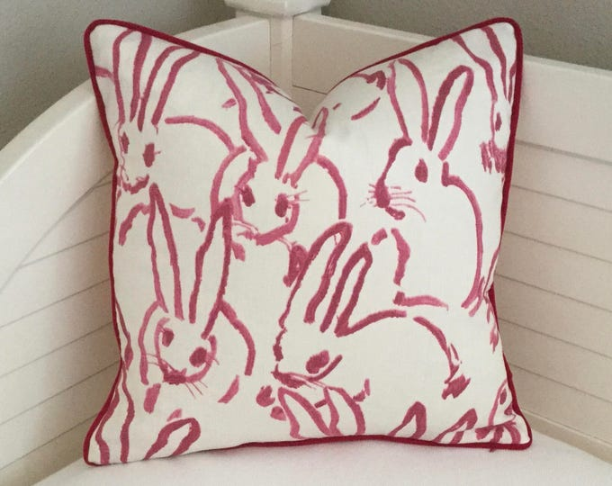 Bunny Hutch Designer Pillow Cover with Velvet Piping, Lee Jofa Groundworks, Hunt Slonem, Made to Order, Pink and White Throw Pillow Cover,