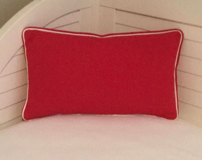 FREE SHIPPING Red Linen  Designer Pillow Cover with Double Piping, Red and White - Lumbar Pillow Cover 12x20 with or without Pillow Insert
