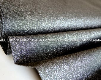 Graphite Glimmer Organic Solid Cotton Fabric, Yarn dyed organic, Quilting Weight, Glimmers Solids from Cloud9, Metallic cotton,