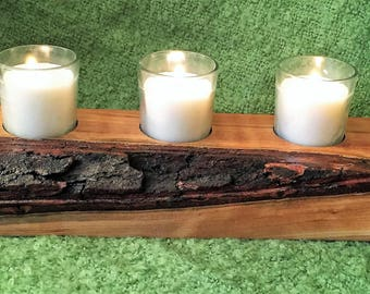 Wooden Candle Holder, Rustic Candle holder, Rustic , Hardwood candle holder,