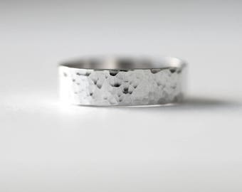 hammered sterling silver ring, wide silver band, simple ring