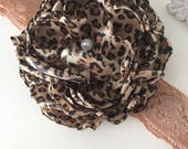 Cheetah flower headband cozette couture