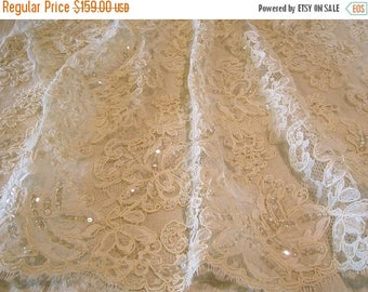 ON SALE Ivory large Floral Motif French Alencon Lace Fabric with Beads and Sequins--One Yard
