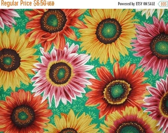 ON SALE REMNANT--Bright and Cheerful Sunflower Print on Kelly Green Pure Cotton Fabric--One Yard