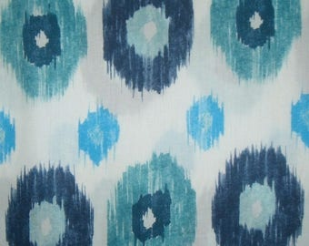 ON SALE SPECIAL--Navy and Turquoise on White Ikat Print Pure Cotton Sateen Fabric--One Yard