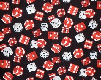 ON SALE Red and Black Game of Chance Dice Print Pure Cotton Fabric--By the Yard