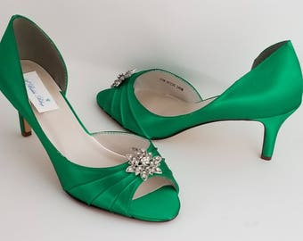 Emerald Green Bridal Shoes Emerald Green Wedding Shoes with Vintage Style Flower or PICK FROM 100 COLORS Bridesmaid Shoes