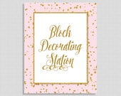 Block Decorating Station Baby Shower Sign, Pink & Gold Glitter Shower Sign, Baby Girl, INSTANT PRINTABLE