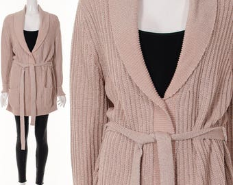 Pink and Silver Wrap Sweater Vintage 90's Metallic Pink Boyfriend Cardigan Sweater Tie Jumper Medium