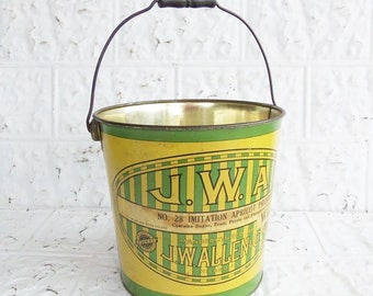 Old Confectioners Pastry Tin Litho Pail, J.W. Allen Co.