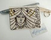 RESERVED. hand drawn coin purse, tiny art purse, textile art purse, pagan art, tribal art, money purse, small purse, small storage, gift