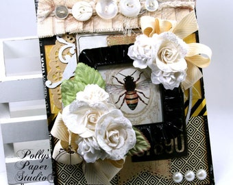 Vintage Bee Wall Hanging Home Decor Polly's Paper Studio Handmade