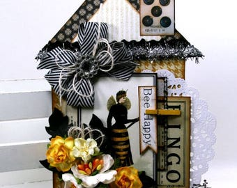 Bee Happy House Tag Polly's Paper Studio Handmade