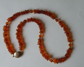Natural Genuine amber necklace with gold plated beads