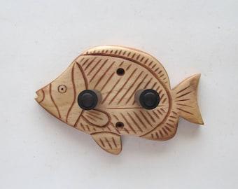 Unique hand carved ukulele wall mount hanger, holder, trigger fish