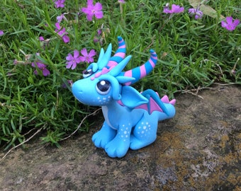 Cute Polymer Clay Blue and Pink Dragon