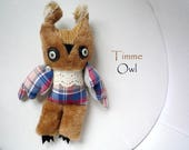Timme retro  owl  ,  soft art  creature   textile doll by   Wassupbrothers, retro owl, recycled plaid  boho buho bohemian home decor