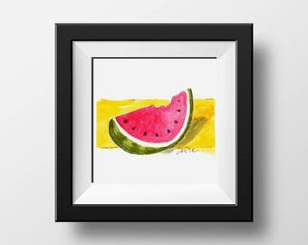 Watermelon Slice Print, Watercolor Print, Red , Yellow, Sweet Watermelon, Food Art, Fruit Art, Birthday Gift, Farmhouse Art, Kitchen Decor