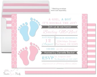 Twin Baby Shower Invite - Printable Twins Baby Shower Invitation - Baby Shower For Girl - Twin Babies - Gender Neutral - Invitation Twins