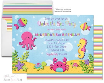 Under The Sea Birthday Invitation - Under The Sea Party Invitation - Under The Sea Invitation - Under The Sea Invite - Girls Nautical Party