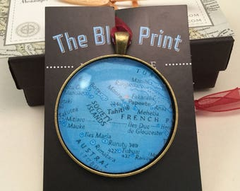 Tahiti  Map Christmas Ornament, Keep a memory Alive / HONEYMOON Gift / Wedding Map Gift / Travel Tree Ornament / Corporate gift