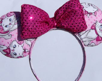 Marie from Aristocats inspired Mickey Mouse Ears - Minnie Mouse Ears - Disney Ears - AristoCats - Disney Cat - Kitten