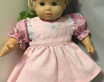 15 Inch Baby Pink Dress / 15 Inch Doll Pink Dress / Baby Doll Pink Dress Set / Bitty Baby Pink Print and Pinafore 4 Piece Dress Set