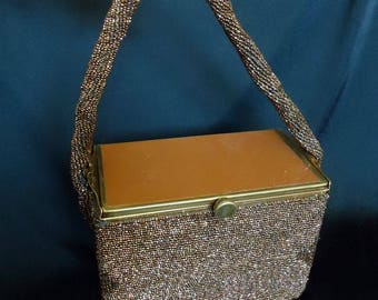 Copper Glass BEADED Vintage 1950's Rockabilly BOX Handbag Purse