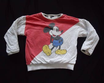 Reversible DISNEY Mickey Mouse Vintage 1980's Unisex Child's PUFFY Sweatshirt S 6-7
