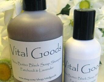 ON SALE Dreadlock shampoo Patchouli Lavender shea butter black soap shampoo 12oz (VEGAN)