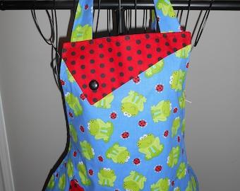 Frogs and Ladybugs - Women's Apron - pocket - ruffle - animals
