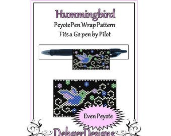 Peyote Beading Pattern (Pen Wrap/Cover)-Hummingbird