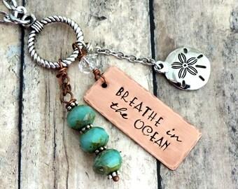 Beach Necklace - Long Charm Necklace - Beach Charm Necklace - Beach Quote Necklace - Beach Jewelry - Ocean Necklace - Sanddollar Necklace