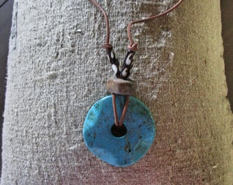 jewelry necklace turquoise colored stone African beads boho tribal one of a kind ready to ship