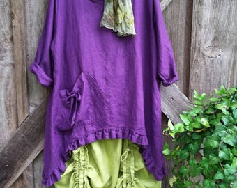 Reserved for C C washed linen tunic in violet eggplant purple with ruffles ready to ship