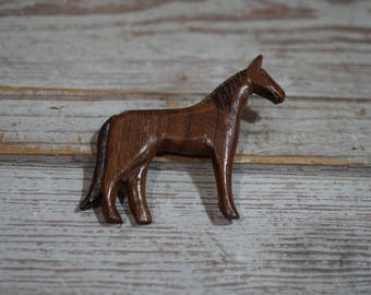 Signed Carved Wooden Horse Pin