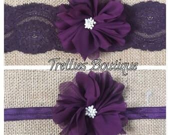 Plum Lace Headband, Lace Headband, Chiffon Flower Headband- Eggplant Elastic Headband- Flower Girl Headband, Wedding